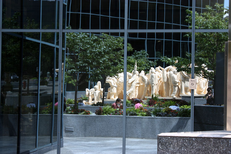 World Travel Photos :: Reflections :: Montreal.  The Illuminated Crowd - a reflection of the statue