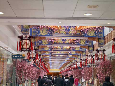 World Travel Photos :: Chinese New Year :: Hong Kong. Chinese New Year decorations in Telford Plaza, Kowloon