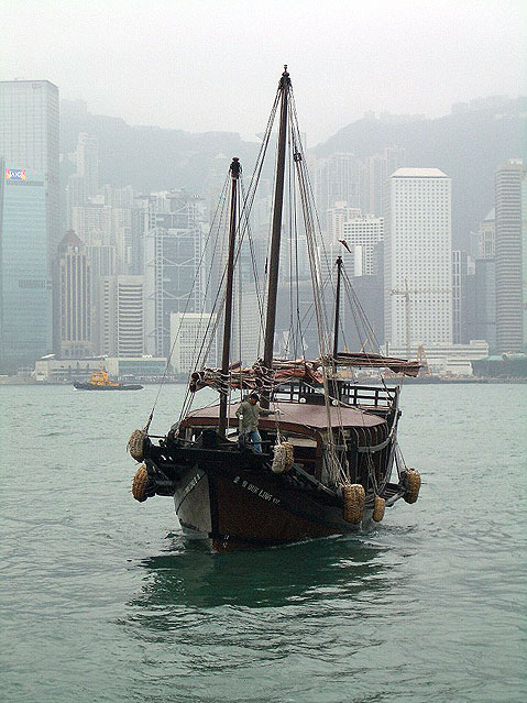 World Travel Photos :: Victoria harbour :: Hong Kong. Fisherman Boat