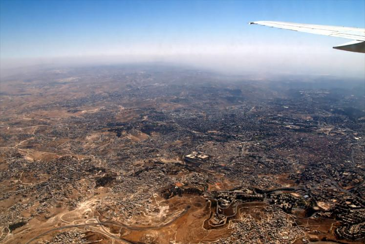 World Travel Photos :: Aerial views :: Jerusalem from 6km height