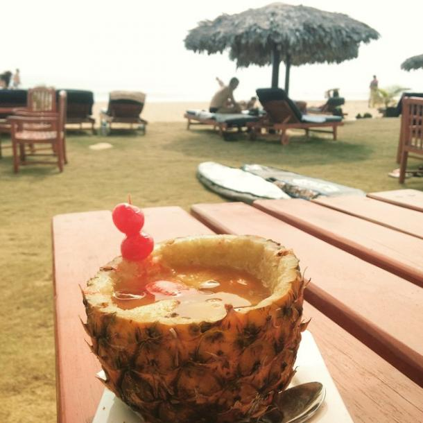 World Travel Photos :: Liberia - Monrovia :: Cocktail in pineapple. Beach at Kendeja resort and villas, Paynesville