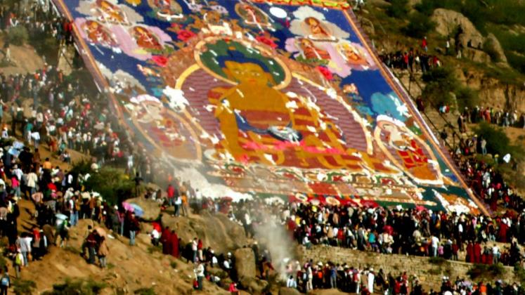 World Travel Photos :: Tibet :: Lhasa. Drepung Shoton Festival - ceremony
