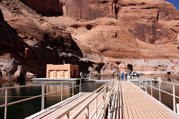 World Travel Photos :: USA - Arizona - Rainbow Bridge :: Arizona. A pier leading to the waking path to the Rainbow Bridge
