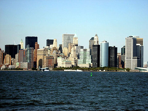 World Travel Photos :: USA - New York City :: New York. View on Manhatten from Liberty Island
