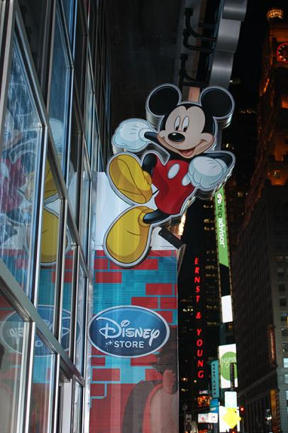 World Travel Photos :: Shop-Signs :: New York City. An entrance to the Disney store at Times Square