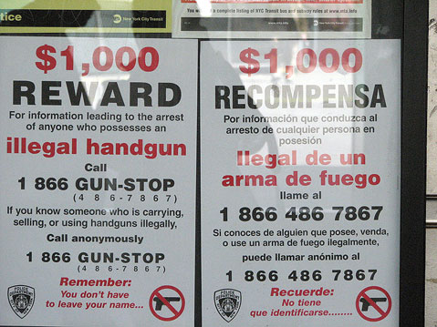 World Travel Photos :: City life - random scenes :: New York City. Reward for information on illegal gun possession