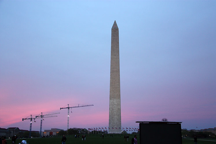 World Travel Photos :: Landmarks around the world :: Early sunset in Washington, DC, Washington Monument