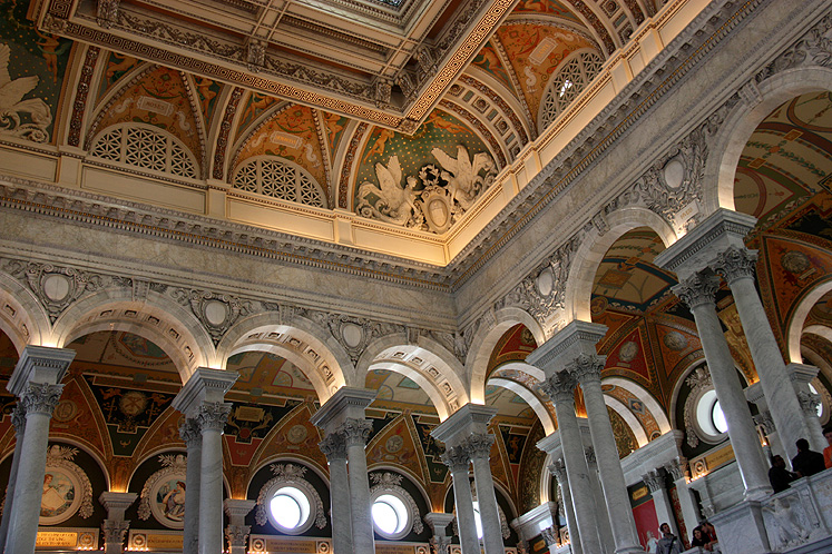 World Travel Photos :: USA - Washington, D.C. :: Washington D.C. - a ceiling of the Library of Congress